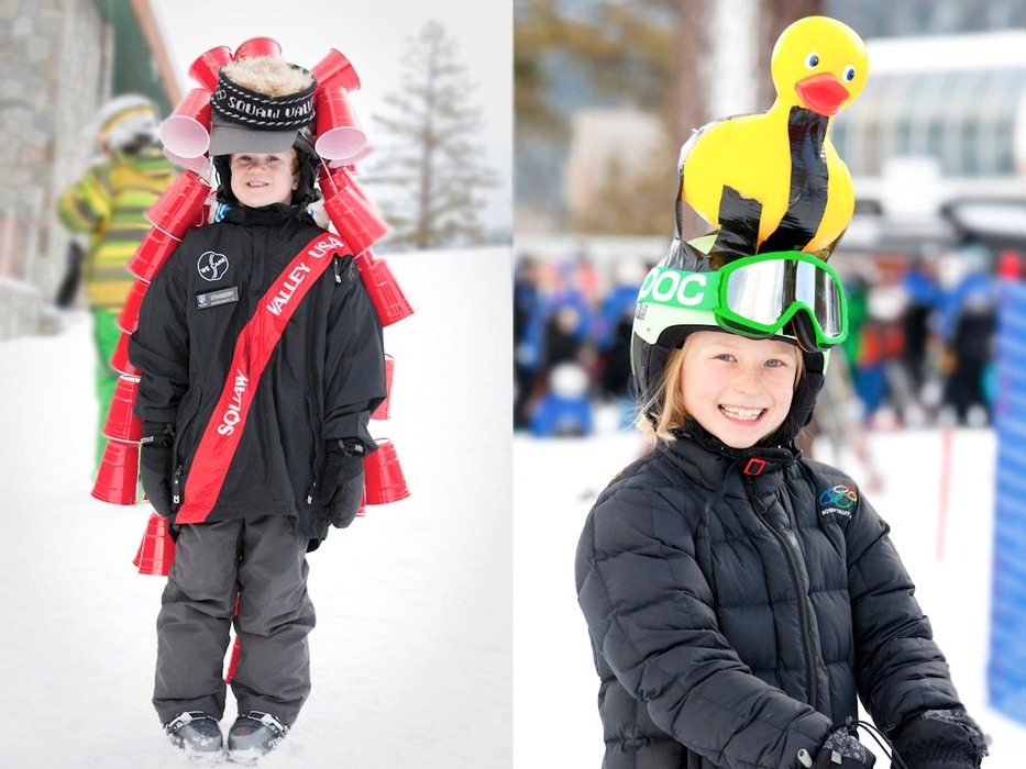 Kids sported their home made hats at Crazy Hat Day at Squaw Valley. Photo by Sasha Coben