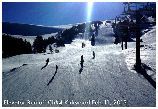 Bluebird day skiing groomed runs from Lift 11 To Lift 2 - 3 - 4! top freshly groomed @ noon so was beautiful skiing!