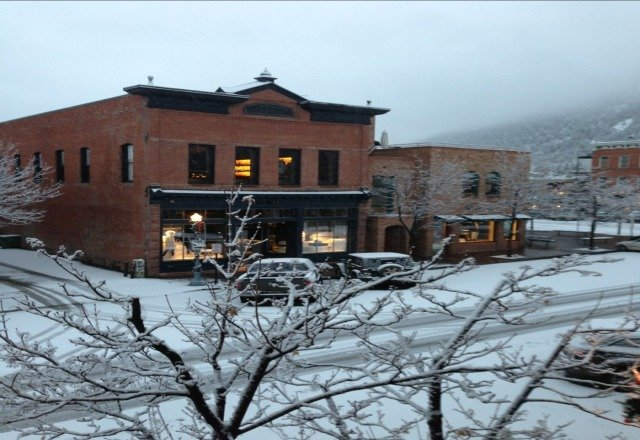 snowed all night, finally some white on the ground in aspen