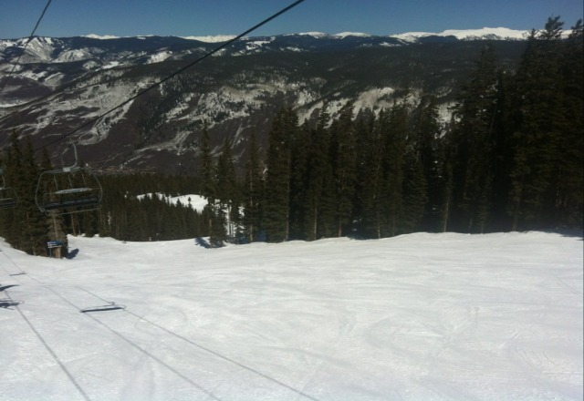 Easter Sunday. bluebird and soft snow