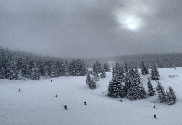 Conditions were fantastic today!  It's been snowing all day and has only increased in intensity this evening!