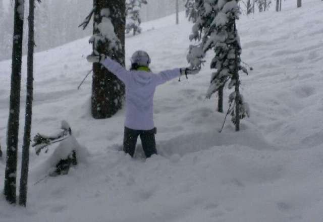 powder everywhere...great day! stuck in the trees w board!!!