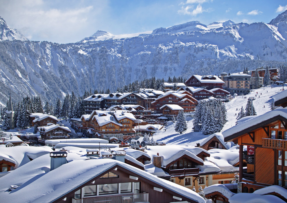 Snow-clad luxury chalets in Courchevel, France