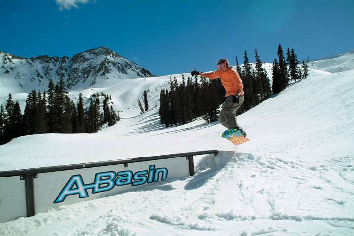 A snowboarder at Arapahoe Basin, CO.