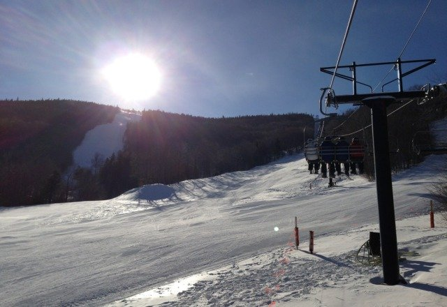 REALLY cold today but spectacular sunshine. firm snow & a little icy in spots but generally great conditions... c'mon up!