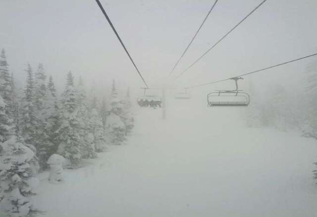 Snowed all day!!  The back side is unbelievable, the only problem is visibility!  We will definitely be back.