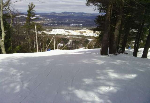 still pretty deep snow -started to get warm after noon,,,, so slush ensued.  morning skiing was great