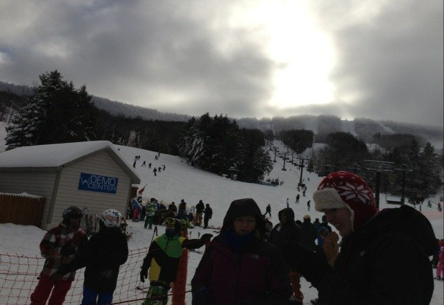 good conditions. a few icy spots. snow guns blasting all day. long lines for the D lift and generally crowded because of the holidays. packed powder in most areas.