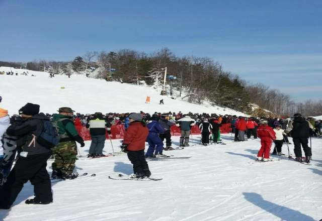 Great weather and snow today, but way too crowded.  Lift lines were terribly slow.
