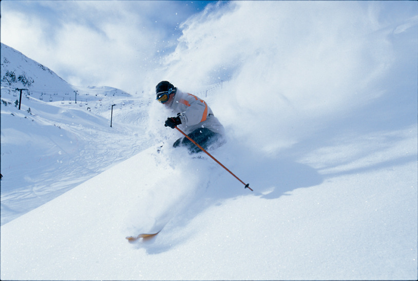 Powder skier at Arapahoe Basin, CO.