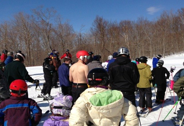was at mt snow yest. snow everywhere and warm. saw a dude rising shirtless