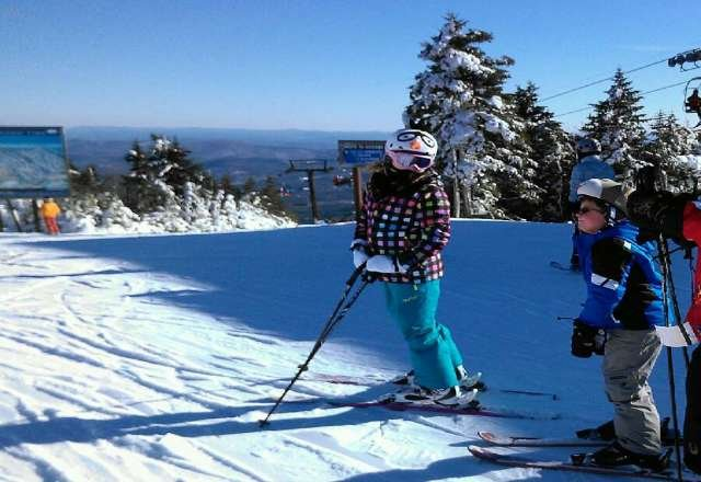 great day  skiing was great not iczy and not cold perfect weather