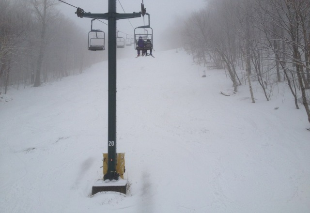 warm and mushy.  still good coverage but getting slow and wet.  spring skiing all around.