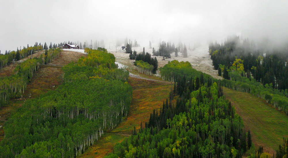 Snow paints the mountain near the new Four Points Lodge at Steamboat