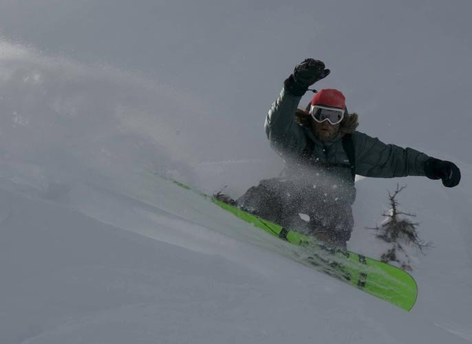 Snowboarder Darrell Miller comes in close in Jackson Hole, Wyoming