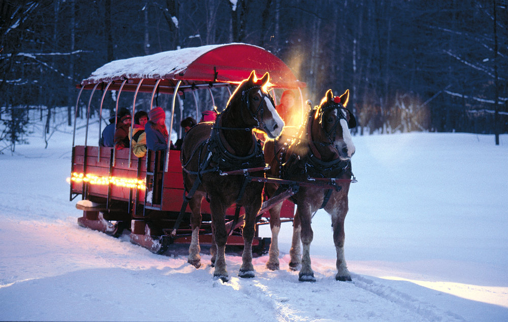A sleigh ride around Crystal Mountain, Michigan