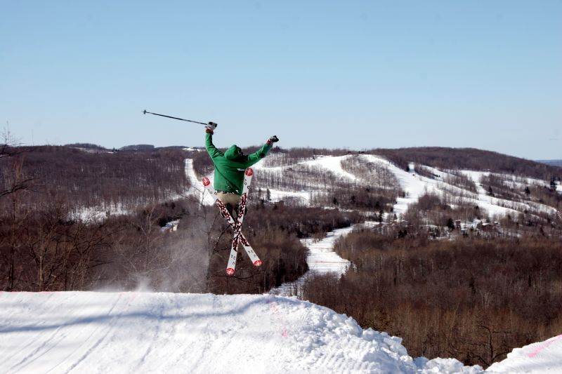 A freeskier at Indianhead in Michigan.