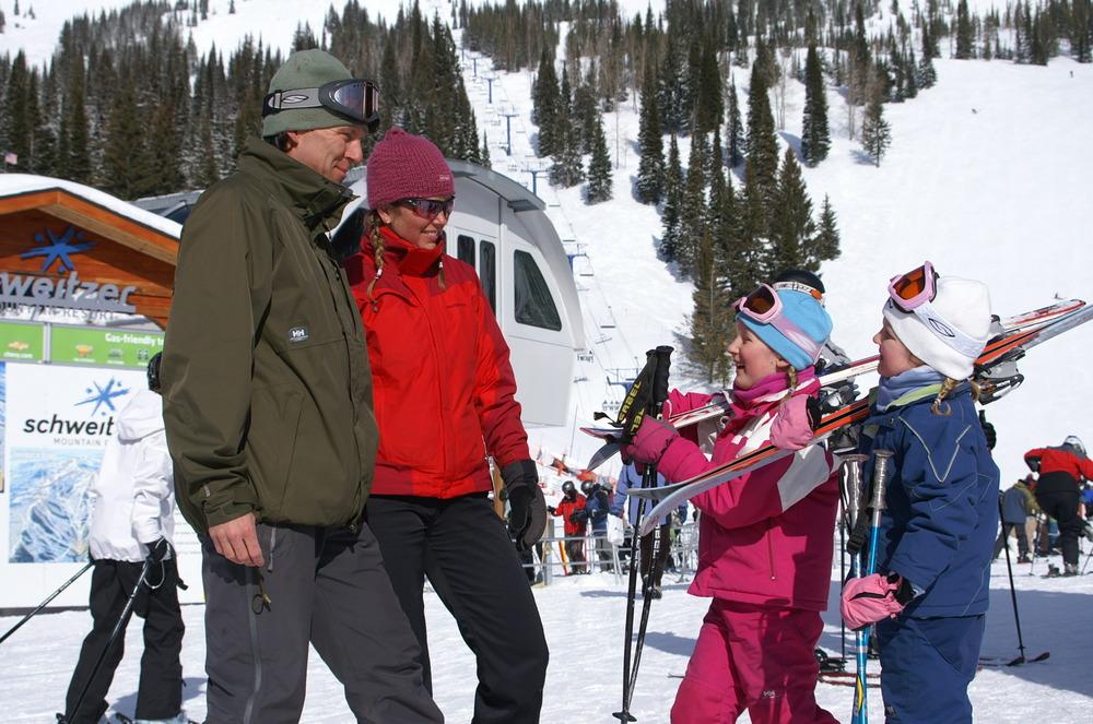 A family gets ready to ski in Schweitzer Mountain, Idaho