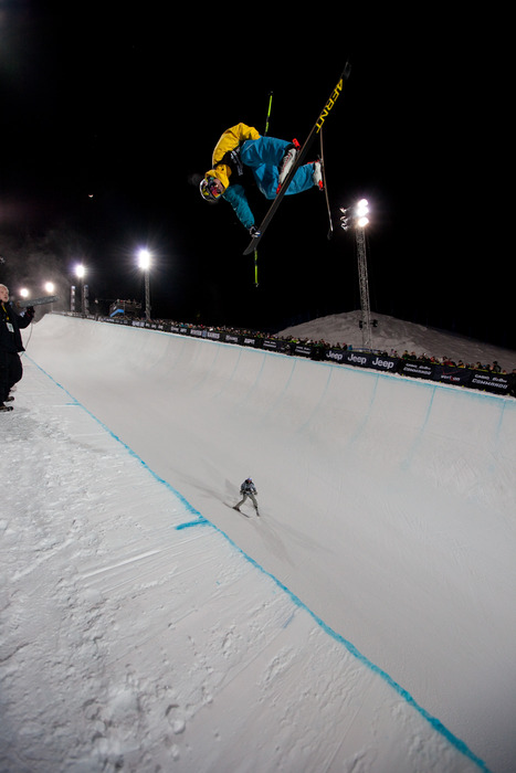 After the men's skiing Superpipe eliminations on Friday David Wise from Reno, NV holds 1st place. Photo by Sasha Coben