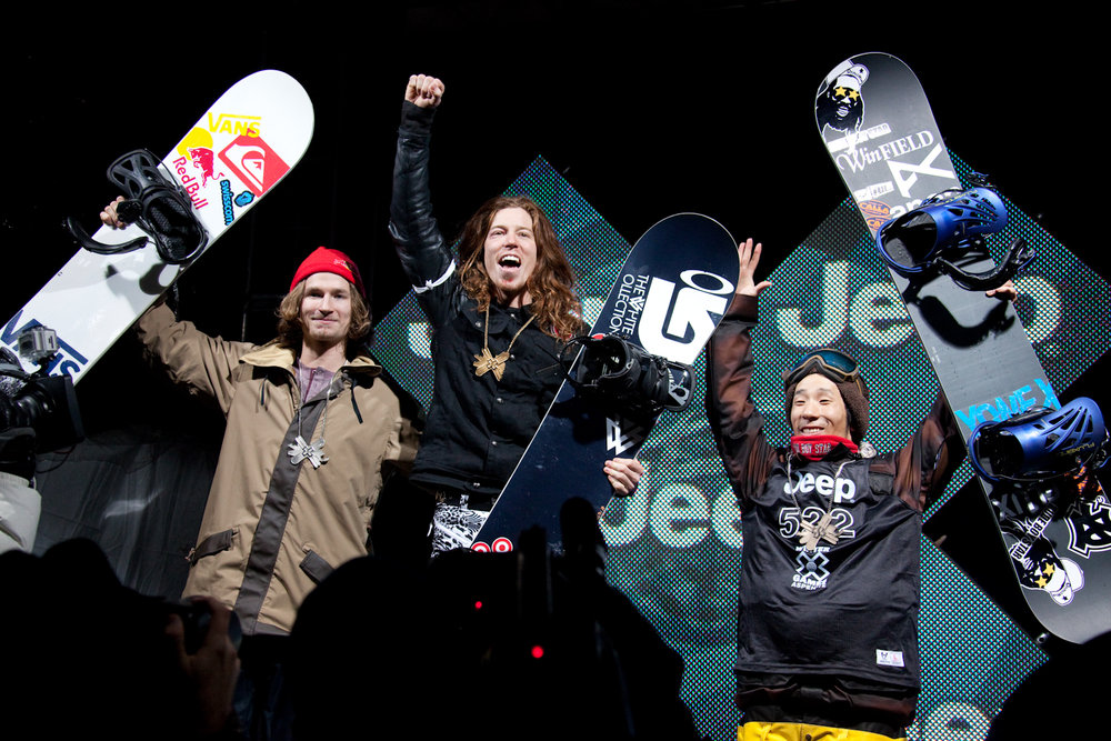 Snowboarding Superpipe podium.