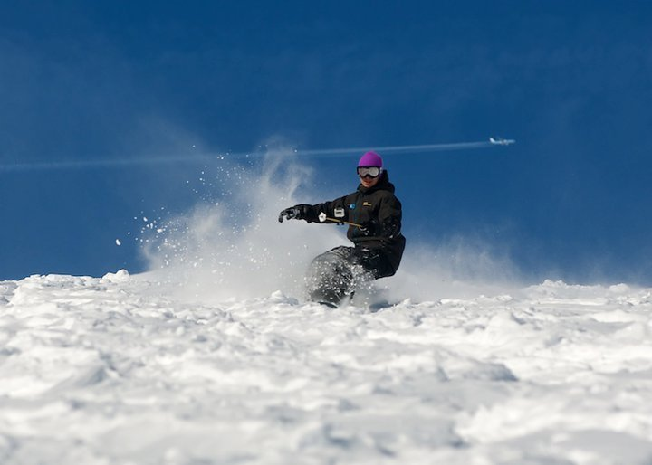 Pro rider, Rowan Brandreth hitting the pow