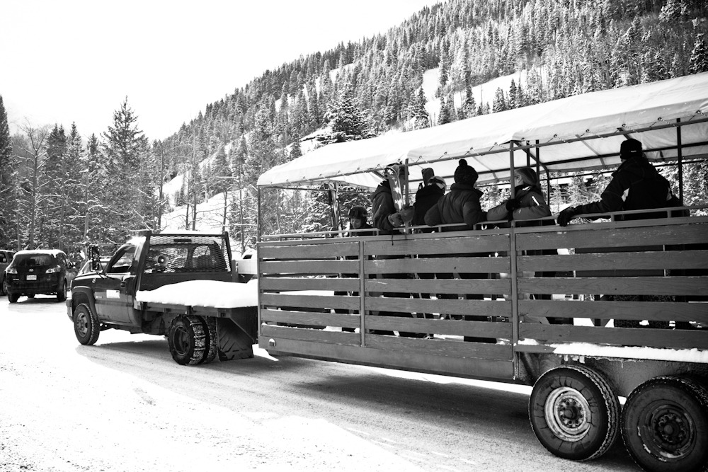 "Taos bills itself as the ""un resort"" and most people will find this rings refreshingly true. Shuttling skiers and boarders from the free parking lot to the slopes is not a multi-million dollar gondola, but an old pickup and a trailer. Photo by Liam Doran"