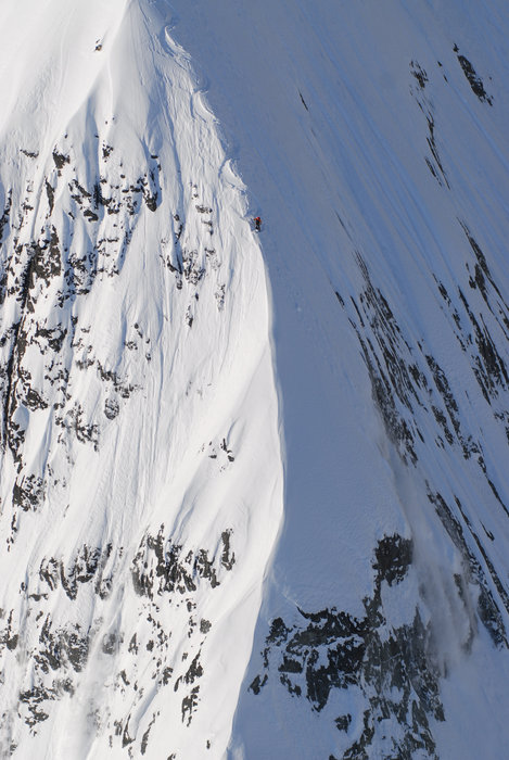 Dean Cummings' first descent of Dragon's Back spine on Meteorite Mountain filming for The Steep Life  - ©Eric Layton