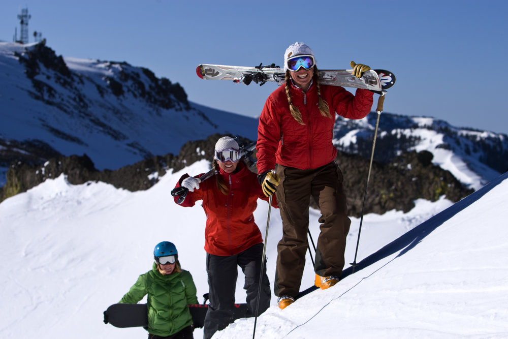 Leigh Pierini, Doug Pierini, Deanna Neu, and Ang Hamilton in a sunrise ski photo session at Alpine Meadows, California.