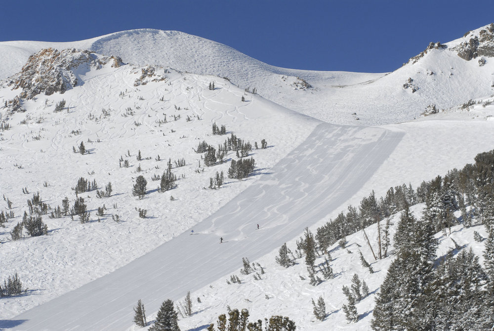 A groomed run in Mammoth Mountain, California