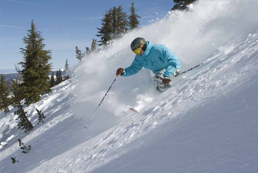 This skier enjoys powder in Mammoth Mountain, California