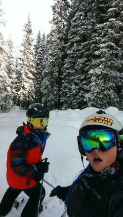 this happened Saturday  in the trees at Mary Jane so much fun cliffs and drops  into powder woop woop