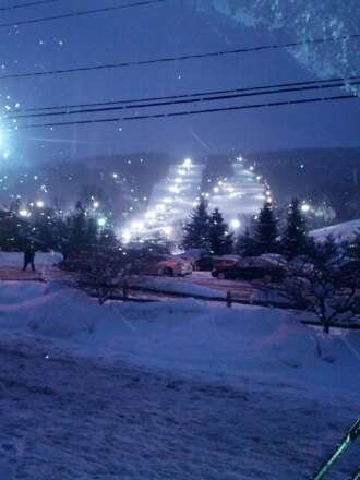 fantastic ski conditions light snow falling  fantastic night skiing