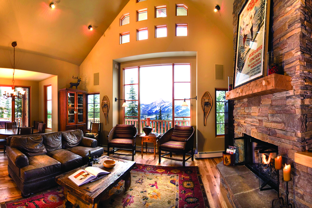 Living room of mountain home at Moonlight Basin. Photo courtesy Moonlight Basin