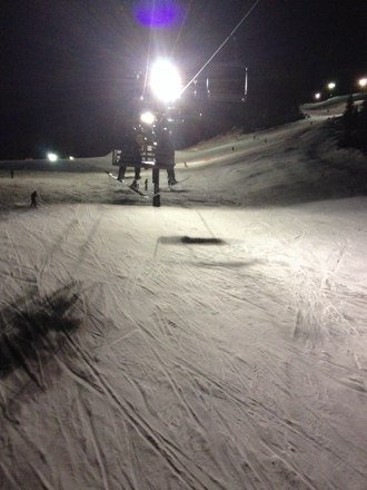 Really great night skiing, mostly icy but there were runs with some powder- overall pretty good conditions!