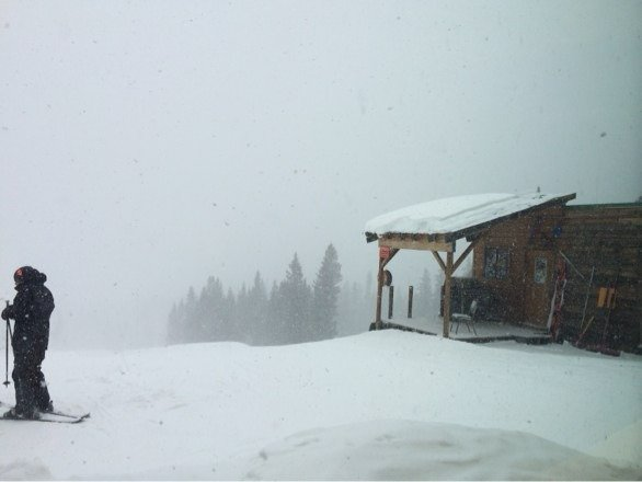 Snowing pretty hard. Visibility is so so. Looks like at least 1 inch of fresh snow so far.