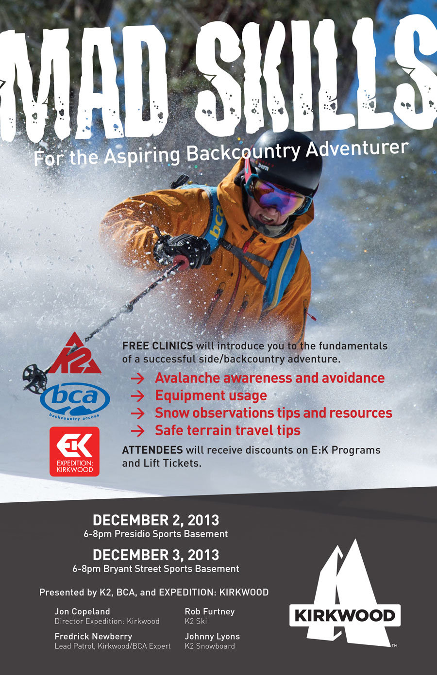 Learn some of the backcountry basics at Sports Basement in San Francisco on Dec 2nd and 3rd.