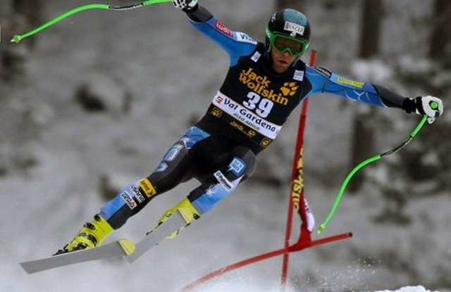 Nyman on track to win the 2012 downhill in Val Gardena, Italy.