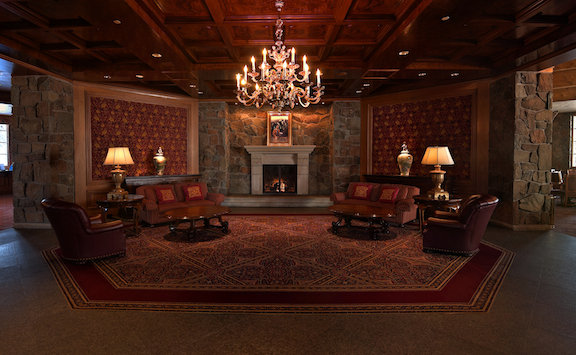 Relax in the swanky lobby of Earl's Lodge at Snowbasin Resort.
