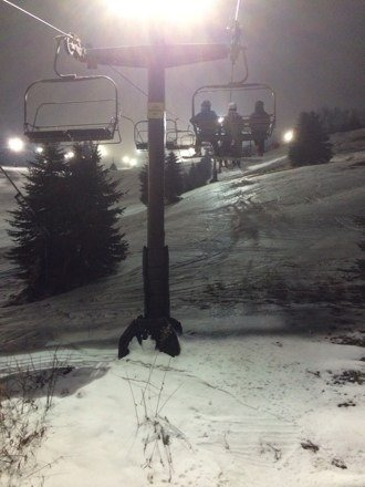 Friday night conditions were better than expected. Most all trails and lifts open. (Corkscrew had too many bare spots.) Not busy at all on Front Face. North face lift pictured above was a little busy.Only lift lines to speak of were at 6 person lift.Had a great night with 20 runs down the mountain!