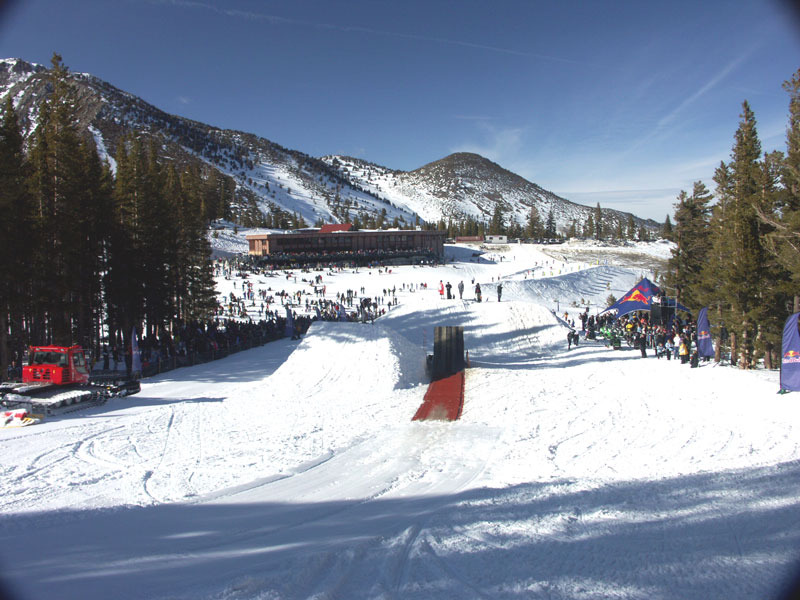 A view of a ramp used in a snowmobiling competition at Mt. Rose, Nevada