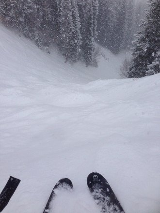 Corkscrew gully , getting dumped on all day , 3 plus feet by Friday !!!
