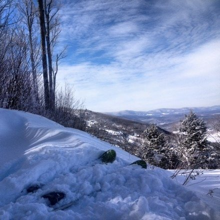 yesterday was epic riding during the storm, today after the groomers tamed it a bit was even better. went in the woods and made some amazing fresh lines... But don't stop:) legs = jello. go Windham!