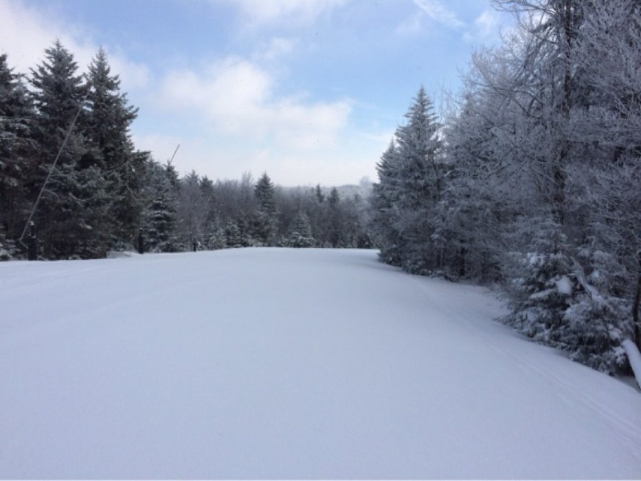 Great conditions on Monday.  Couple inches of fresh powder and no lines.  Got to make first tracks all over the mountain.