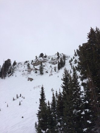 Great skiing today. This is chute 4