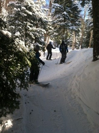 Great tree skiing with powder everywhere wish u were here groomer dan