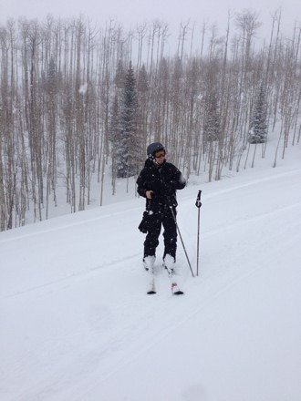 Great day, visibility okay, a few inches up top of Snowmass. Me n Captain Mike botbot all over da mountain
