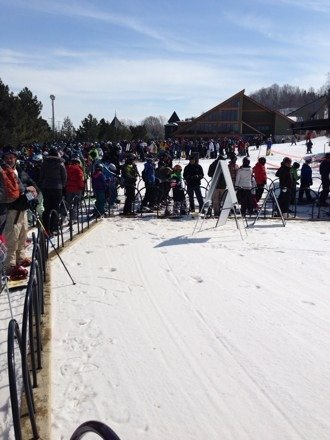 Mushy snow, long lines, no lifty directing traffic on busy march break Friday. Lifts stalling often.
