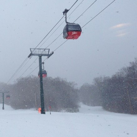 Got a great coating last night, one of the best days of the season. Low visibility up top and a smattering of sleet here and there, but overall a great day to be at Stowe. No lift lines, empty trails all around.