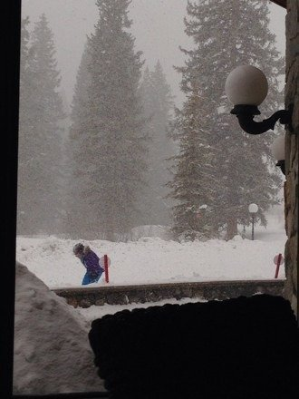 Awesome powder little hard to see but really good day for snowboardings