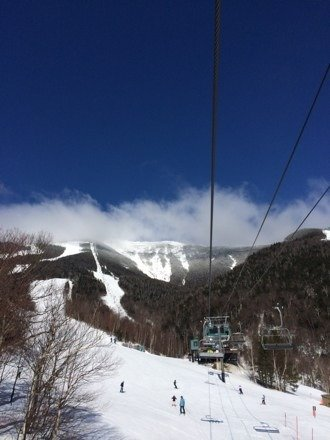 Snow starting to soften up. Gorgeous day! Still plenty of snow, light crowds. Best time of year to ski :)